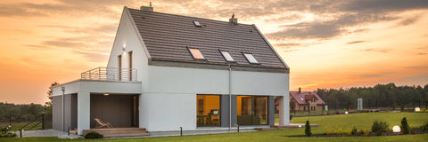 Modern house in peaceful area royalty free stock photo