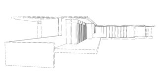Modern House Perspective Drawing. Perspective drawing of Jacobs' house that have been designed by the architect Frank Lloyd Wright during the modern movement Royalty Free Stock Images