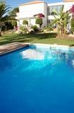 Pool on the Backyard of a Modern Luxurious House Stock Photo