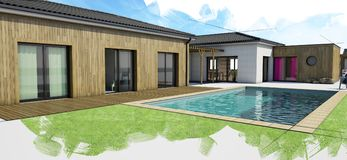 Modern house with pool, exterior view Royalty Free Stock Image