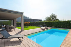 Modern house with pool Stock Images
