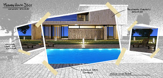 Modern house with pool project Stock Image
