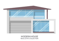 Modern house, real estate sign in flat style. Vector illustration. Royalty Free Stock Photo
