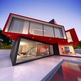 Modern house red and black. 3D rendering of an upscale modern house in black and red vector illustration