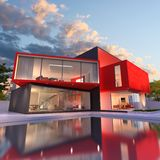 Modern house red and black. 3D rendering of an upscale modern house in black and red royalty free illustration