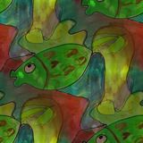 Modern house seamless fish green watercolor artist wallpaper tex. Ture of handmade Stock Photos