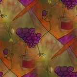 Modern house seamless grapes watercolor artist wallpaper texture Stock Photo