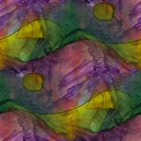 Modern house seamless lilac, yellow watercolor artist wallpaper Stock Photography