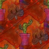 Modern house seamless rabbits with cactus watercolor artist wall Stock Photography