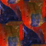 Modern house seamless red, blue watercolor artist wallpaper text Stock Photography