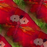 Modern house seamless red Dragonfly watercolor artist wallpaper Royalty Free Stock Photo