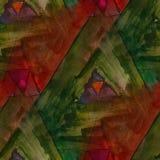 Modern house seamless red, green watercolor artist wallpaper tex Stock Photo