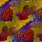 Modern house seamless red leaves watercolor artist wallpaper tex Royalty Free Stock Image