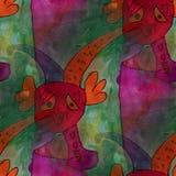 Modern house seamless the sad clown watercolor artist wallpaper Stock Image