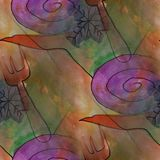 Modern house seamless snail and fork watercolor artist wallpaper Stock Images