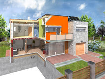 Modern house in section