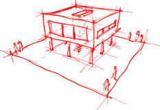 Modern house sketch Royalty Free Stock Photography