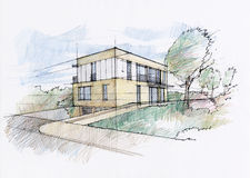 Modern house sketch Stock Photography