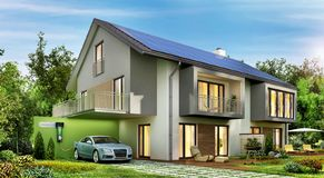 Modern house with solar panels on the roof and electric car