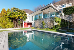 Modern house with swimming pool Stock Image