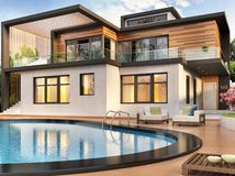 Modern house with swimming pool. Large modern house with swimming pool royalty free illustration