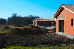 Modern house under construction. Royalty Free Stock Photography