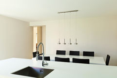 Modern house, view of kitchen Royalty Free Stock Images