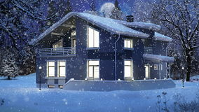 Modern house in a winter Christmas scene stock footage