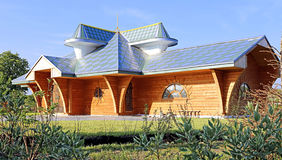 Modern house of wood timber Stock Photos
