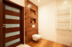 Modern house with wooden bathroom Stock Photo