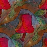 Modern house Worm and apple seamless  watercolor artist wallpape Stock Photos