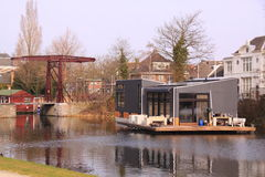 Modern houseboat netherlands Royalty Free Stock Images