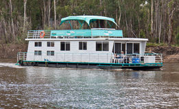 Modern houseboat in Port of Echuca. Stock Photos
