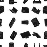 Modern household appliances black icons in set collection for design.Household items vector symbol stock web Royalty Free Stock Images