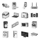 Modern household appliances monochrome icons in set collection for design.Household items vector symbol stock web Stock Photo
