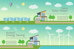 Modern Houses with alternative Eco Green Energy, flat web banners set concept.  Stock Image
