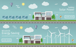 Modern Houses with alternative Eco Green Energy, flat web banners set.  Stock Photo