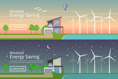 Modern Houses with alternative Eco Green Energy, sunset and night, flat web banners set. Wind Turbines. Vector illustration Royalty Free Stock Images