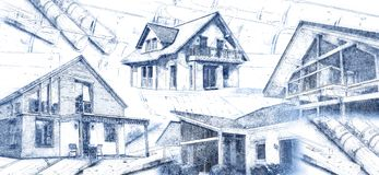Modern houses and blueprints royalty free stock images