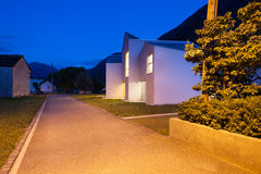 Modern houses by night Royalty Free Stock Photography