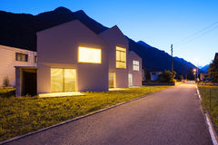 Modern houses by night Royalty Free Stock Images