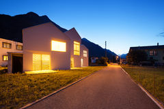 Modern houses by night Stock Photography