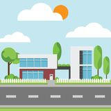 A modern houses with tree and clouds and along the roads. Modern building and architecture along the roads, Flat home vector illustration Stock Image