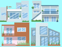 Modern Houses vector set. Modern Houses vector for your ideas Royalty Free Stock Images