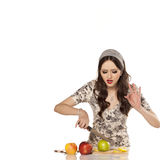 Modern housewife and healthy food Royalty Free Stock Photo