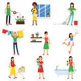 Modern housewife in housework activity set, homemaker cleaning, housekeeping, caring for a child  Illustrations Royalty Free Stock Image