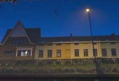modern housing block in a river Stock Images