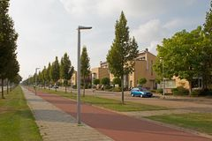 Modern housing estate in Hoogeveen in evening light, Netherlands Stock Photo