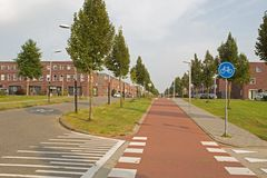 Modern housing estate in Hoogeveen in evening light, Netherlands Stock Photography
