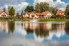 Modern housing estate - Poland. View on modern housing estate in north of Poland Royalty Free Stock Photo